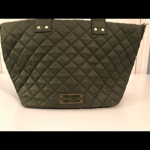 Olivia + Joy olive green quilted crossbody or tote